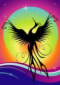 Phoenix bird silhouette re-birth — Stock Vector