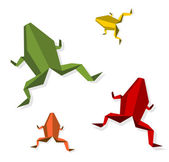 Group of various Origami frog — Stock Vector