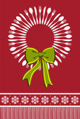 Cutlery wreath christmas background — Stock Vector