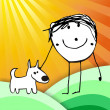 colorful kid with his dog illustration — Stock Photo