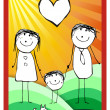 Colorful happy family illustration - Stock Photo