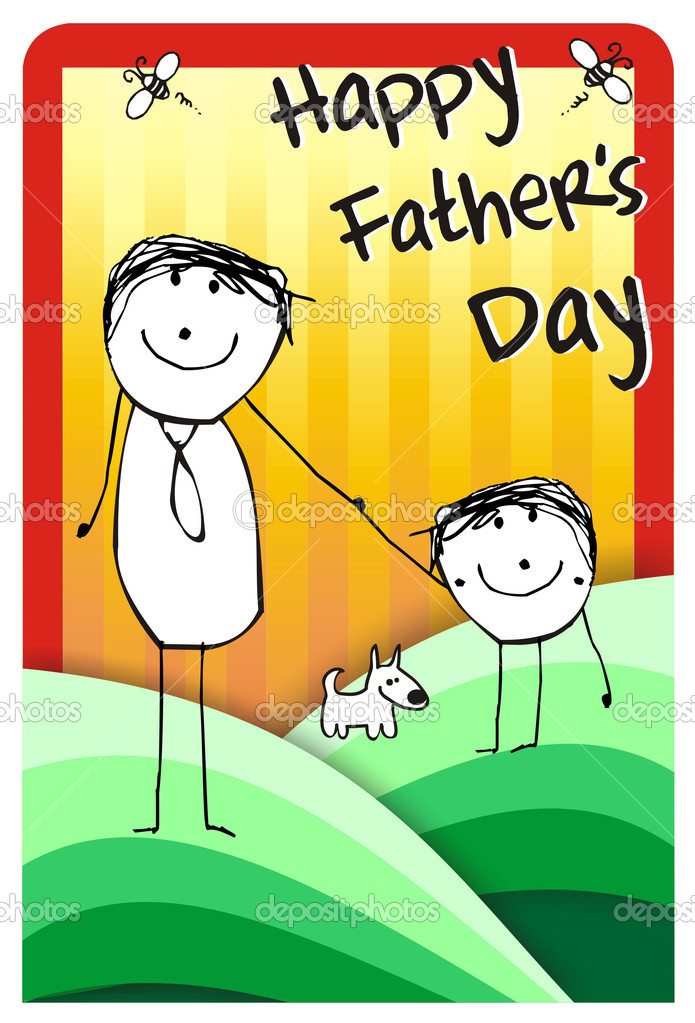 Colorfull hand writting illustration of a father, his son and their dog. Vector format available — Stock Photo #6384764