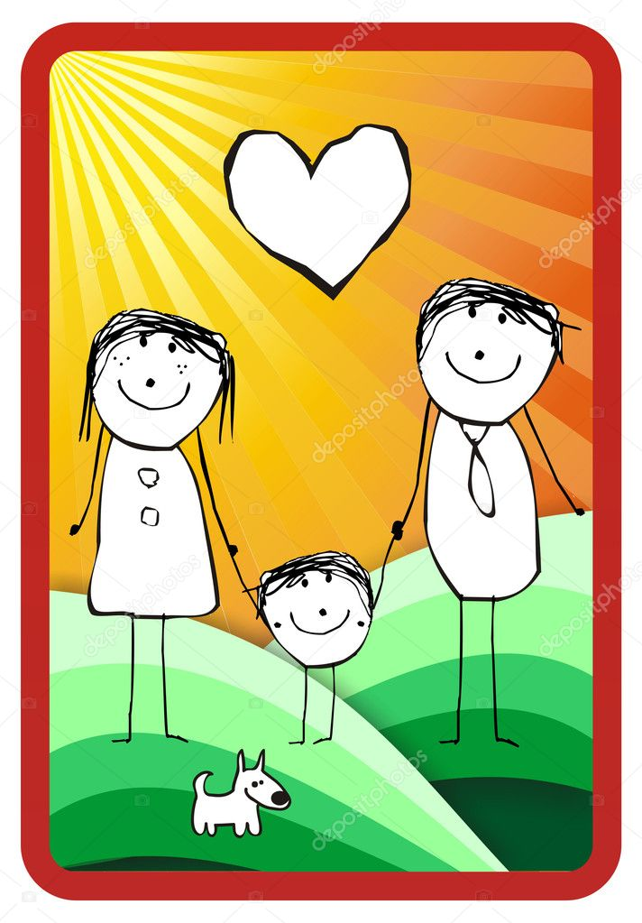 Hand writting illustration of a happy family of three and their dog. Vector format available — Stock Photo #6384857