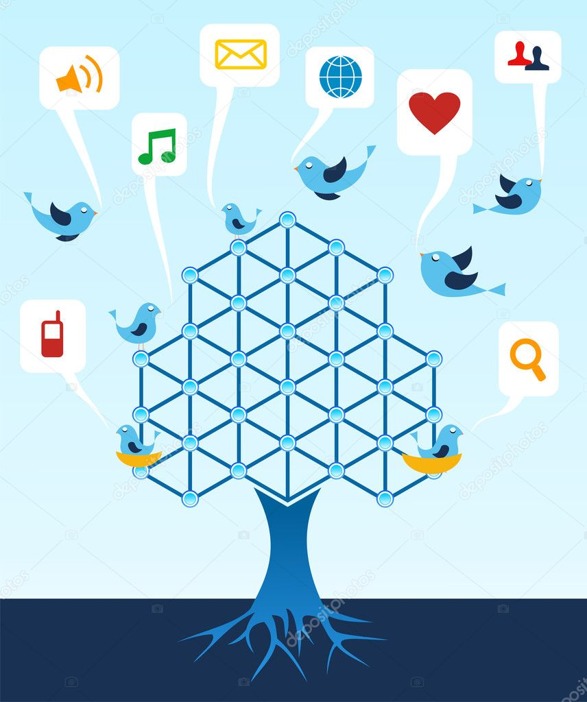 Social media network connection tree. — Stock Vector #6425657