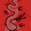 Chinese red dragon vector silhouette — Stock Vector #6502685