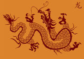Chinese dragon vector silhouette — Stock Vector