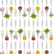 Forks with vegetables pattern. — Stock Vector #6529057