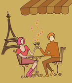 Couple in Paris couple celebrating with champagne — Stock Vector