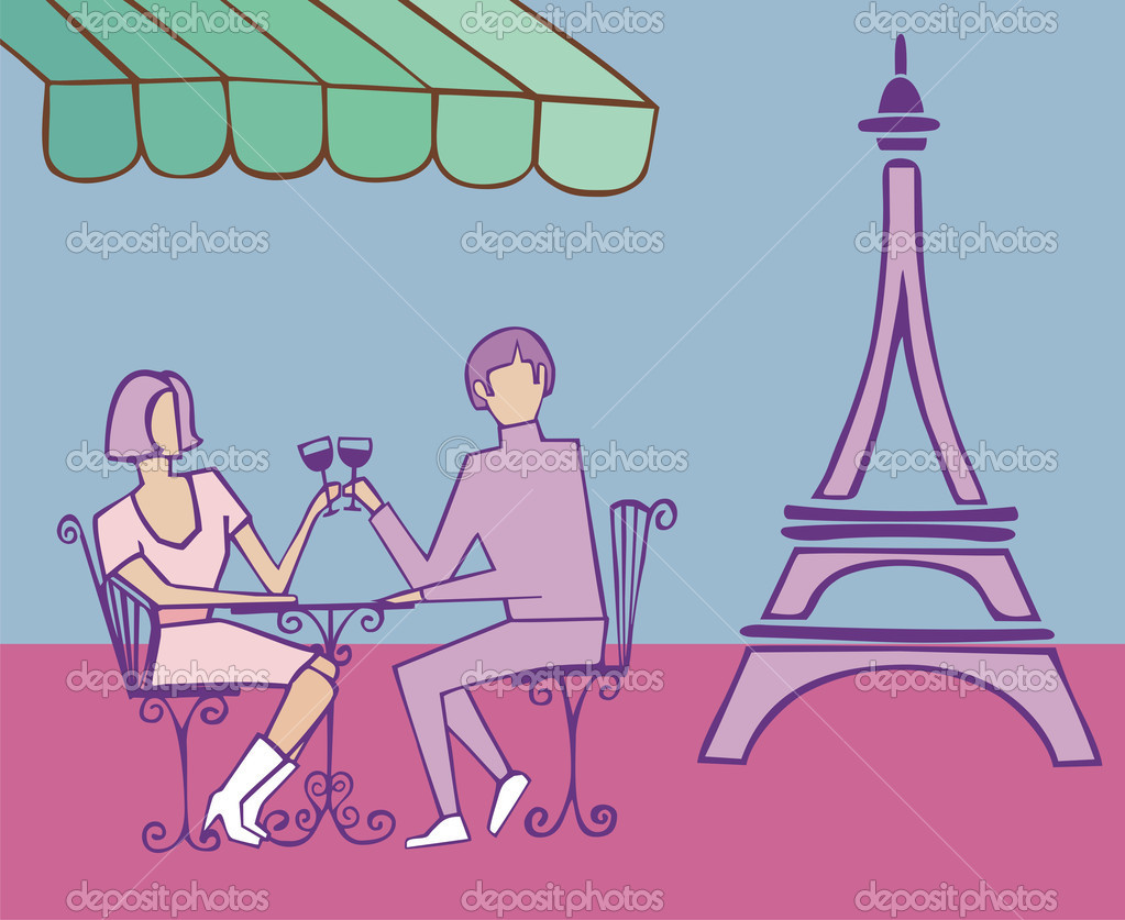 Couple celebrating in Paris near the Eiffel tower on light blue background. — Stock Vector #6634236