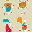 Постер, плакат: Colourful food cartoons with dialogue balloon
