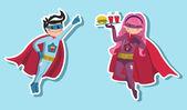Superhero boys illustration — Stock Vector