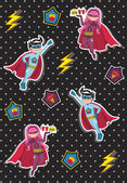 Cartoons superhero kids pattern — Stock Vector