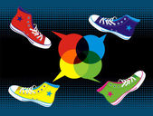 Teenager sneakers social media — Stock Vector
