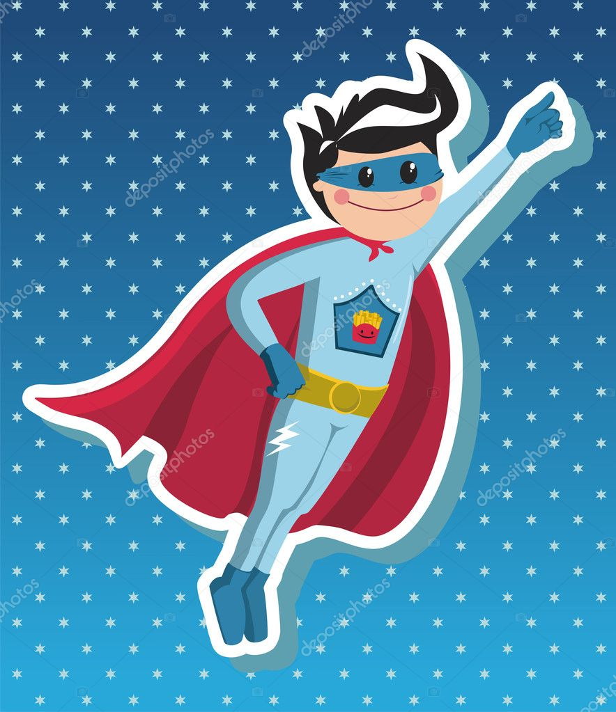 Download - Superhero boy cartoon. — Stock Illustration #6664347 Superhero Flying Vector