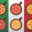 Italian pizza flavors — Stock Vector