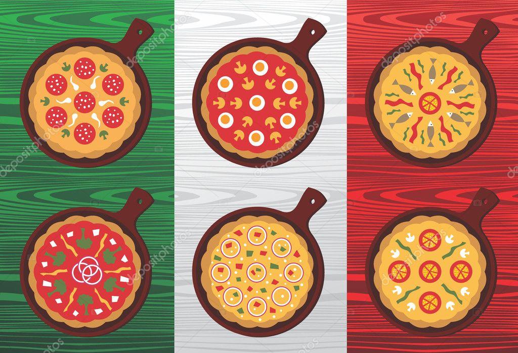 意大利披萨口味 — 图库矢量图片