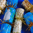 Glittery christmas crackers — Stock Photo