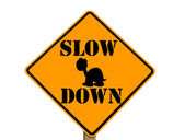 Slow sign with turtle silhouette — Stock Photo
