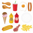 Fast food icon set — Foto de Stock