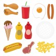 Stock Photo: Fast food icon set
