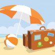 Suitcases on a beach — Stock Photo