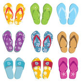 Set of nine flip flops — Stock Photo