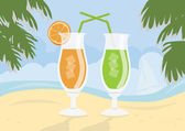 Fresh cocktails on idealistic sand beach — Stock Photo