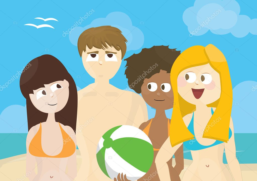 Group of girls and a boy on a beach  Stock Photo #5733425
