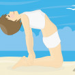 Beatiful woman practicing yoga on a beach — Stock Photo