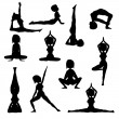 Woman practicing yoga silhouette collection — Stock Photo
