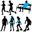 Several in city park - vector silhouettes — Stock Vector #5405559