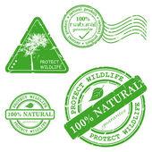 绿色 grunge 橡皮戳-设置 — 图库矢量图片