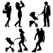 Several with children - vector silhouettes — Stock Vector