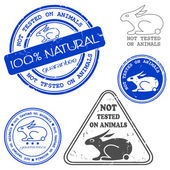 Not tested on animals written inside the stamp — Vetor de Stock