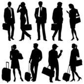 Global team - vector silhouettes — Stock Vector