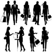 Diversos, compras - vector silhouettes — Vetor de Stock