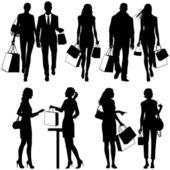 Plusieurs, shopping - vector silhouettes — Vecteur