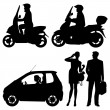 Several on a street - vector silhouettes — Stock Vector