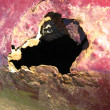 Rusty hole on red painted surface - Stock Photo