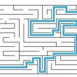 Stock Vector: Labyrinth with way out