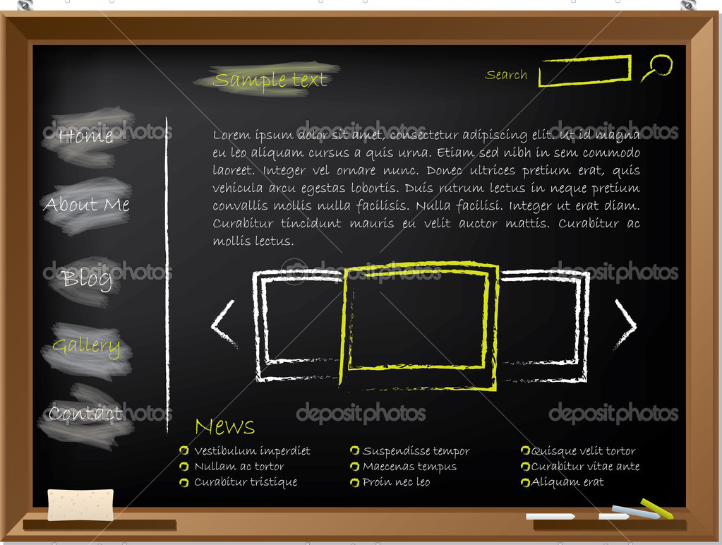 Website template design on blackboard drawn with chalk — Stock Vector #6438285