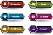 Hexágono em forma de botão set — Vetorial Stock