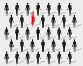 Man standing out from the crowd — Stock Vector