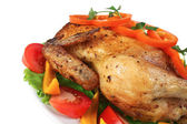 Fried hen with vegetables — Stock Photo