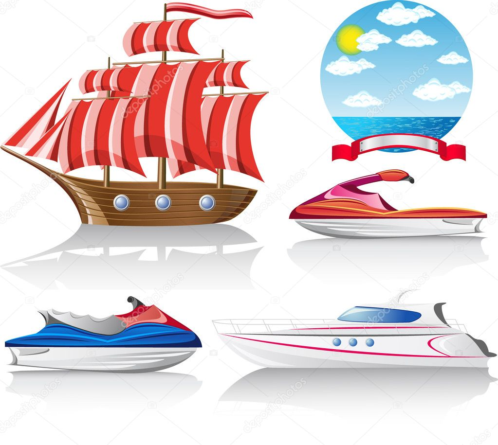 Set of icons marine transport vector illustration — Stock Vector #5547119