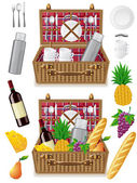 Basket for a picnic with tableware and foods — Stock Vector