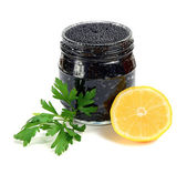 Caviar black is in a panary small basket — Stock Photo