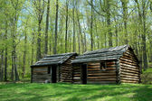Revolutionary War troop cabins — Stock Photo