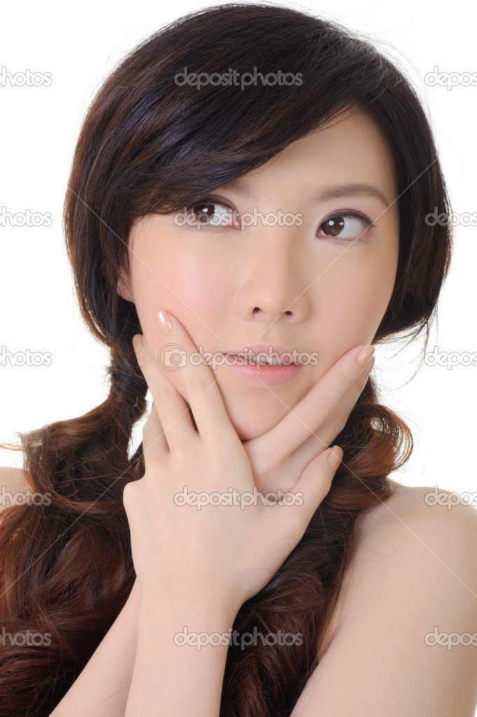 Elegant Asian lady, closeup portrait in studio white background. — Stock Photo #5783462