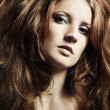 Fashion portrait  beautiful redheaded woman — Stock Photo